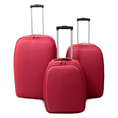 Tallinn - Set de 3 valises textile renforcé rouges