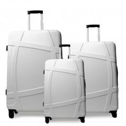 Calgary - Set de 3 valises rigides Blanches ABS + PC à 4 roues 360°